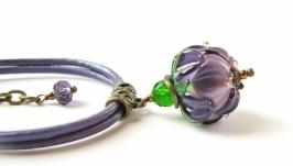 Браслет «Все простое» (№ 56) фиолетовый цветок