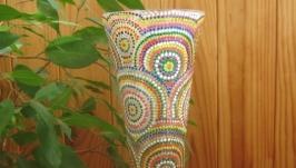 Ваза-тюльпан, ручная роспись (Point-to-point), стеклянная