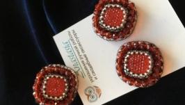 Серьги-гвоздики и кольцо  ′Страсть′