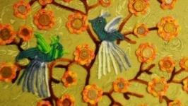 Денежное дерево с райскими птицами