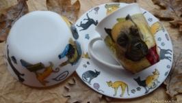 Набор посуды с портретами животных