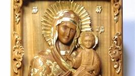 Резная миниатюрная икона Смоленской Богородицы