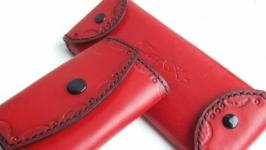 Комплект аксессуаров из кожи - ключница и очечник