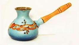 Турка 400 мл. декор Крайка блакитна