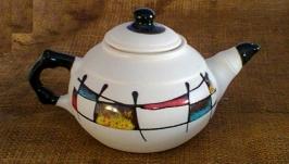 Чайник 600 мл., декор ′Галаретка′ кольорова