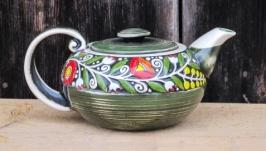 Чайник декор ′Вінок′ зелений