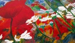 Светильник - картина Первое утро лета, Витражная роспись