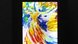 Светильник - картина Танец света, Витражная роспись