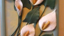 Объемная картина из натуральной кожи ′Каллы′