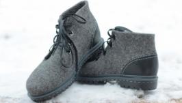 Валяные демисезонные мужские ботинки  ′Обсидиан′