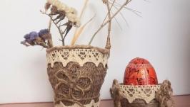 Корзинки из мешковины для фруктов,цветов и др.Пасхальная корзинка для