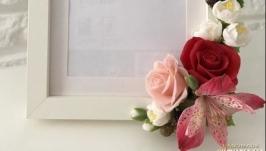 Фоторамка с розами,жасмином и альстромерией