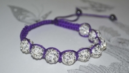 Браслет Шамбала фіолетовий шнур