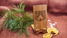 Подставка под мобильный телефон ′Панда′ из натурального дерева