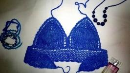 Топ на зав′язках синій