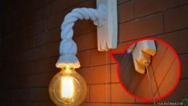 Бра из каната и состаренного дерева с лампой эдисона встроенный выключатель