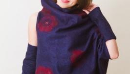 Свитшот валяный женский оверсайз асимметричный ′Сад полуночный′