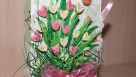Тюльпановая шоколадница (розово-салатовая)
