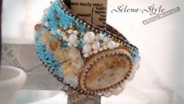Вышитый браслет с окаменелым кораллом «Эдельвейсы»