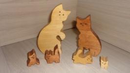 Котята. Пазлы из дерева