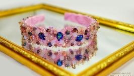 Шикарный ободок диадема ′Розовая дымка′