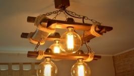 Люстра из состаренного дерева с лампами Эдисона, деревянный светильник