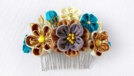 Цветочный гребень для волос Делайн, гребень канзаши