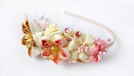 Цветочный ободок канзаши Мэрион, ободок для волос