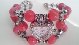 Часы браслет из натурального камня родохрозита и розового коралла