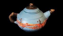 Чайник малий, декор ′Крайка′ блакитний