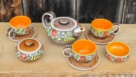 Чайний набір на три персони ′Вінок′ жовтий