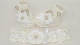 крестильные пинетки и повязка на голову, для крещения девочки, комплект