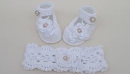 крестильные пинетки и повязка, для крещения девочки, комплект белый