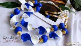 Намисто та сережки ′Синє і біле′