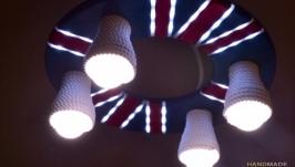 Деревянная люстра c встроенным ночником ′Британский флаг′