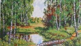 Картина вышитая бисером ′В краю березовом′.