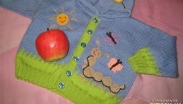 Кофта, кардиган для мальчика спицами из полушерсти на пуговицах с капюшоном