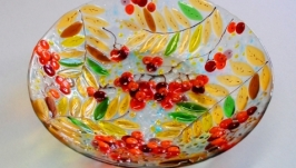 Блюдо ′Рябина′, стекло, фьюзинг