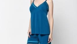 Пижама, размер M, трикотаж, синий, OlaNoche