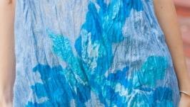 Блуза из шелка ′Птаха′. Нуновойлок. Асимметрия, с эффектом креш. Голубой.