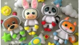 Фетровые игрушки космонавты, Мобиль и подвески