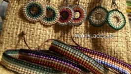 HandMade набор - этно сережки и браслет из бисера