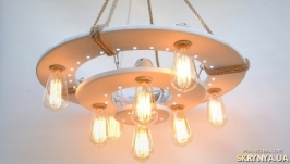 Деревянная люстра с встроенным ночником и лампами Эдисона