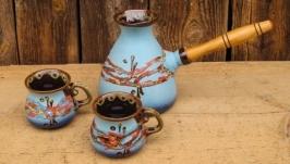 Набір кавовий (турка 500 мл. з двома горнятками), декор ′Крайка′
