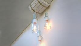 Лампа потолочная в виде винной бочки с 3-мя плафонами из винных бутылок