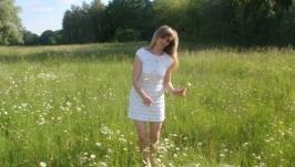 Белое летнее ажурное платье