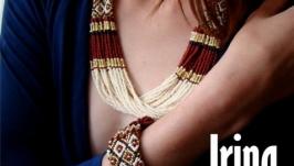 Комплект ′Вишиванка′ намисто і браслет. Коричнево-золотий комплект прикрас