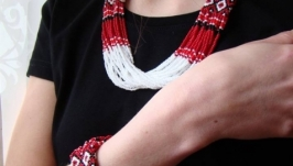 Комплект намисто і браслет з бісеру. Червоно-біли комплект до вишиванки