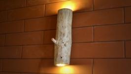Бра из дерева, настенный светильник из натурального бревна