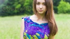 Блуза шелковая валяная ПланетаГолубыхОзер. Нуновойлок. Зеленый, фиолетовый